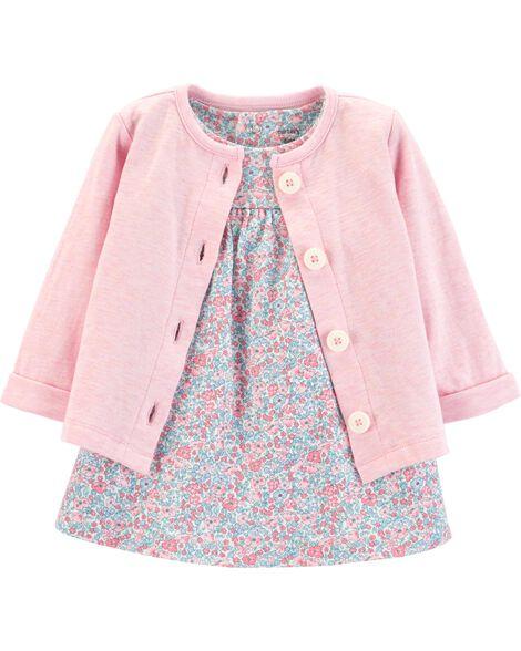 f05bff29c1b4 2-Piece Floral Bodysuit Dress   Cardigan Set