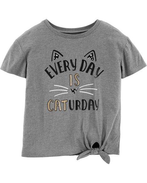 Glitter Caturday Tie-Waist Tee