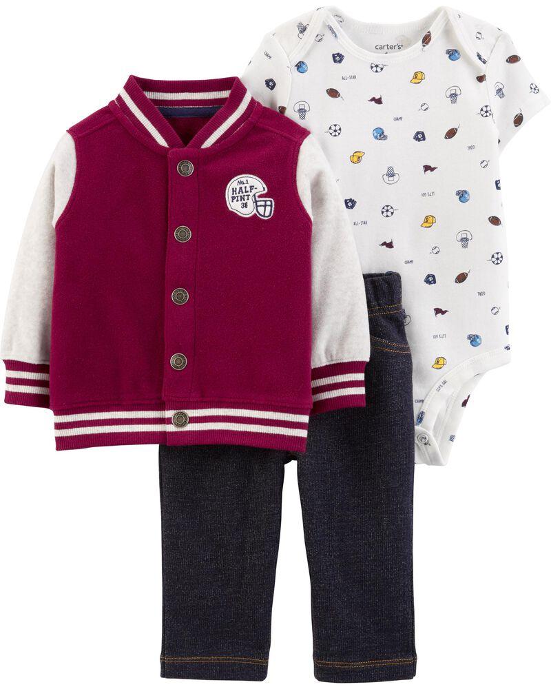 3-Piece Varsity Little Jacket Set, , hi-res