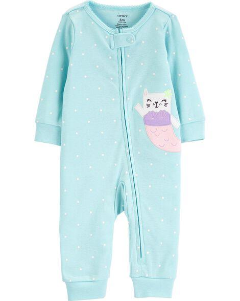 0737ee046fad Cat Mermaid Zip-Up Cotton Footless Sleep   Play