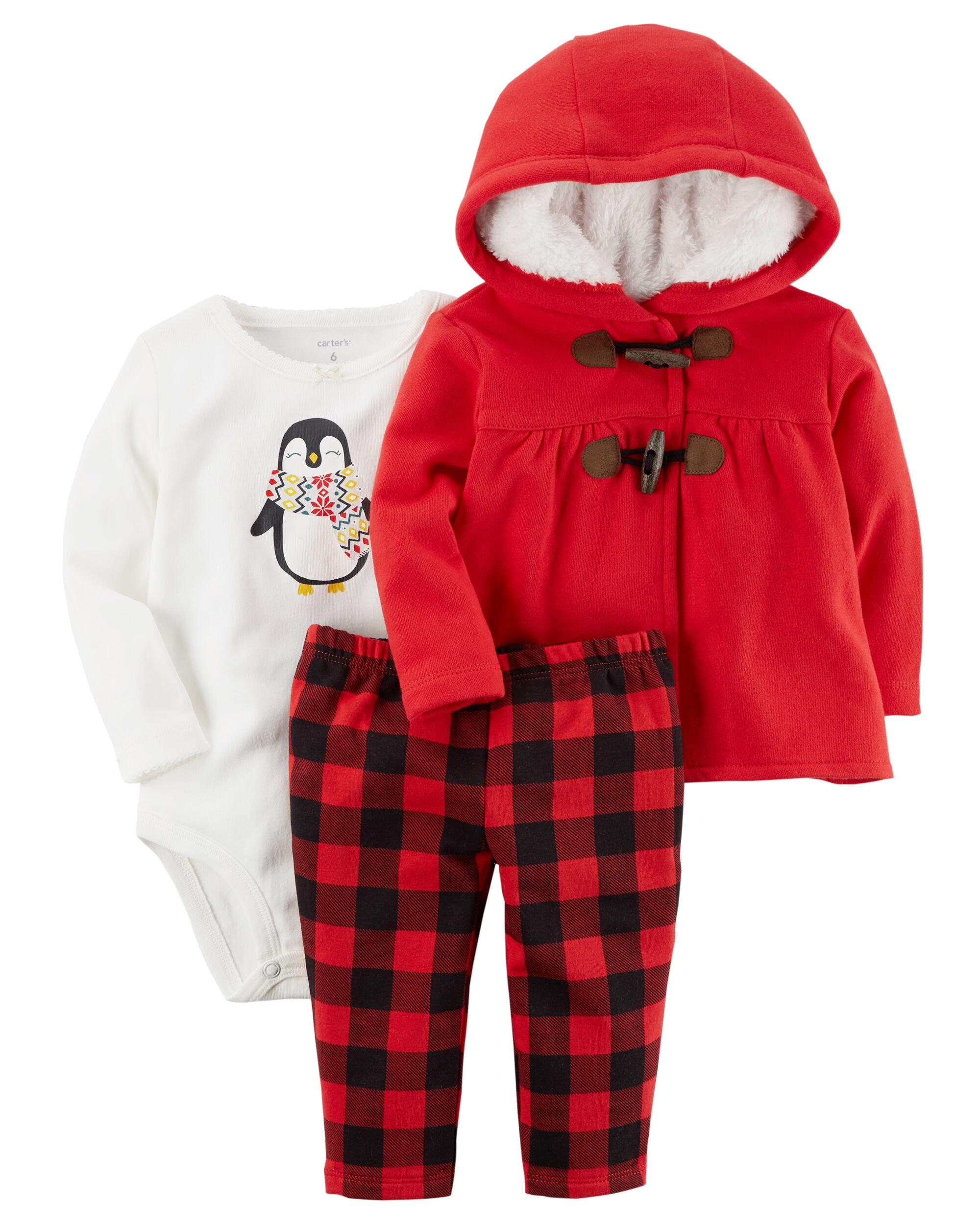3 Piece Plaid Penguin Little Jacket Set Carters Com