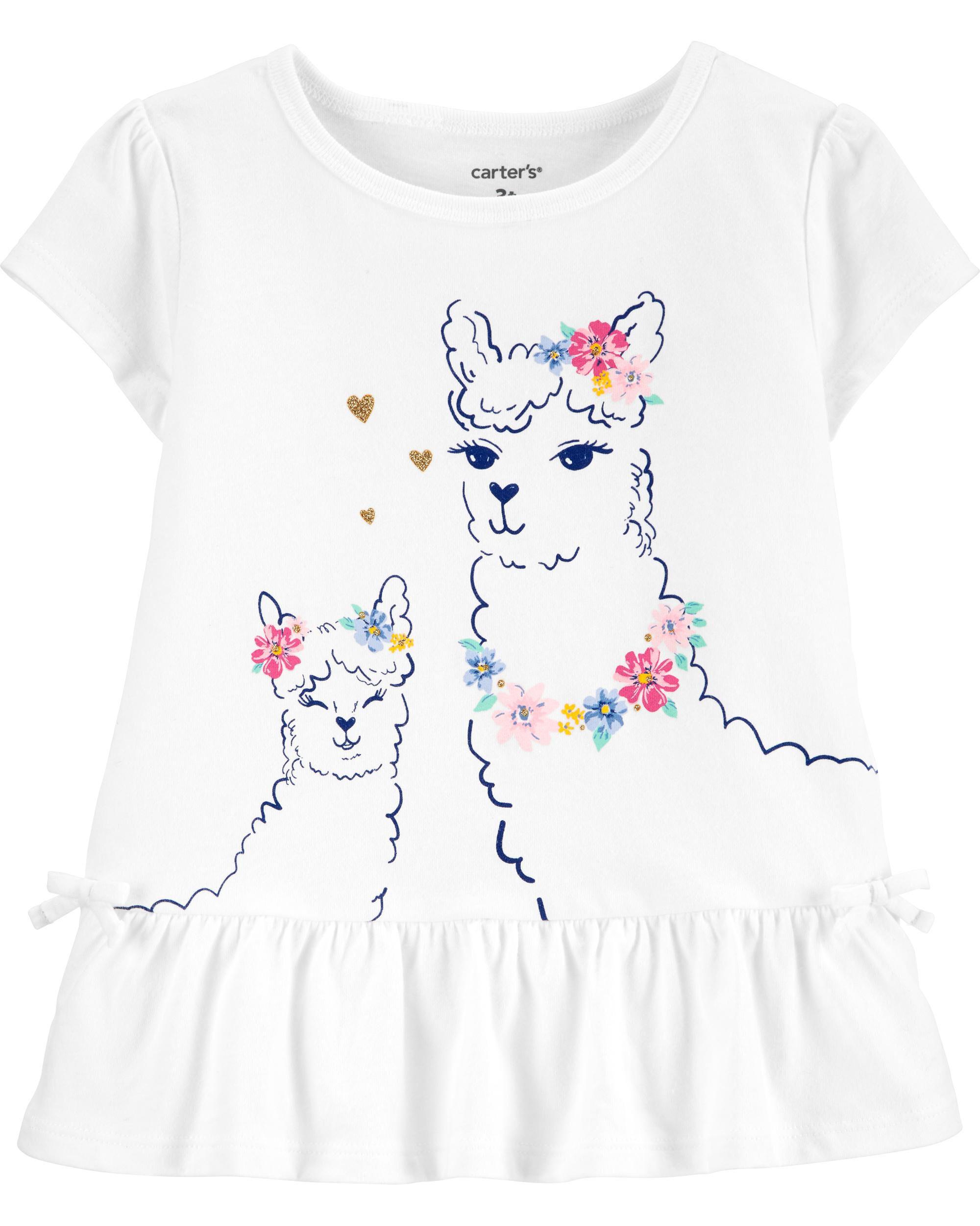 *CLEARANCE* Floral Llama Peplum Jersey Top