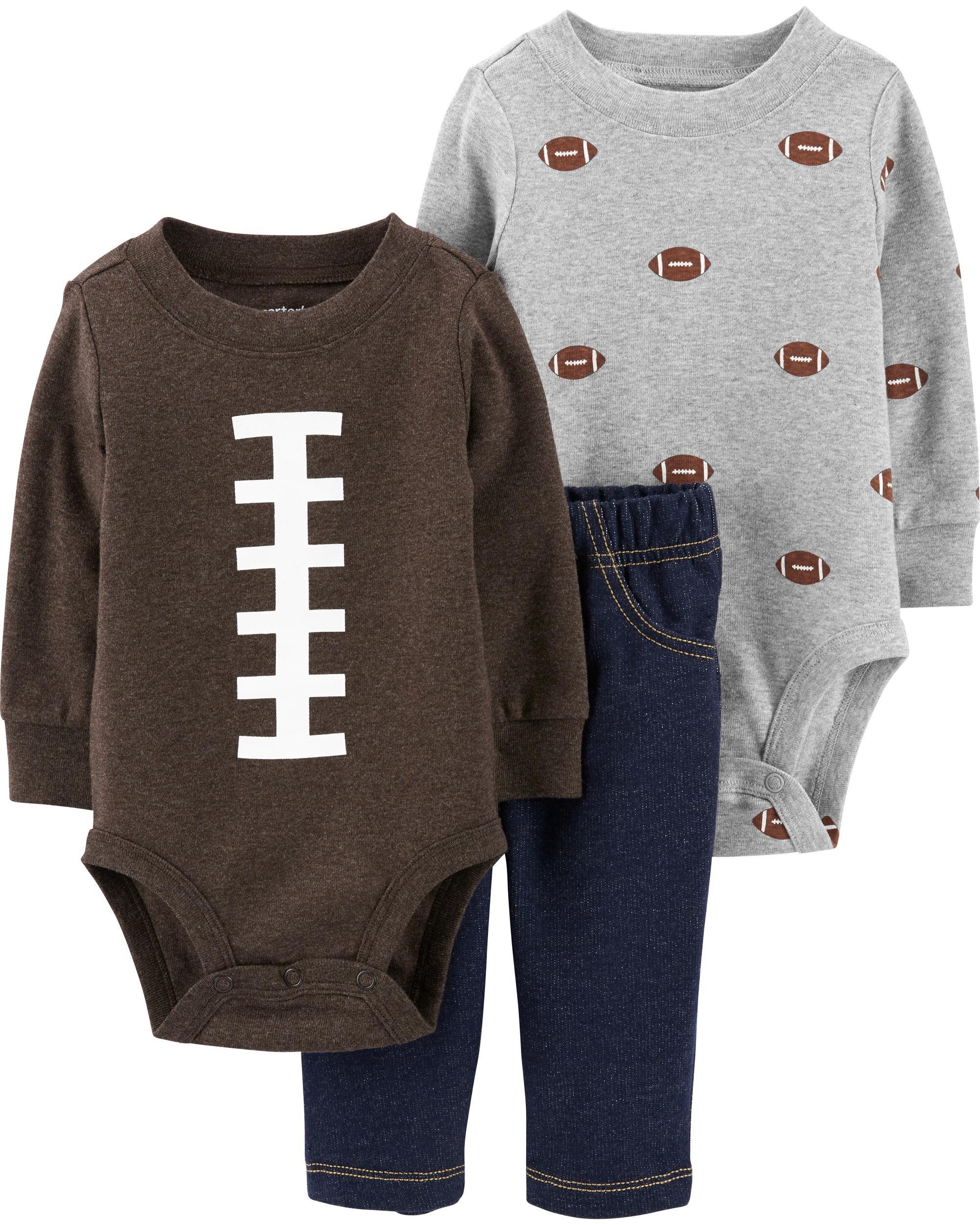 3-Piece Football Bodysuit & Knit Denim Pant Set