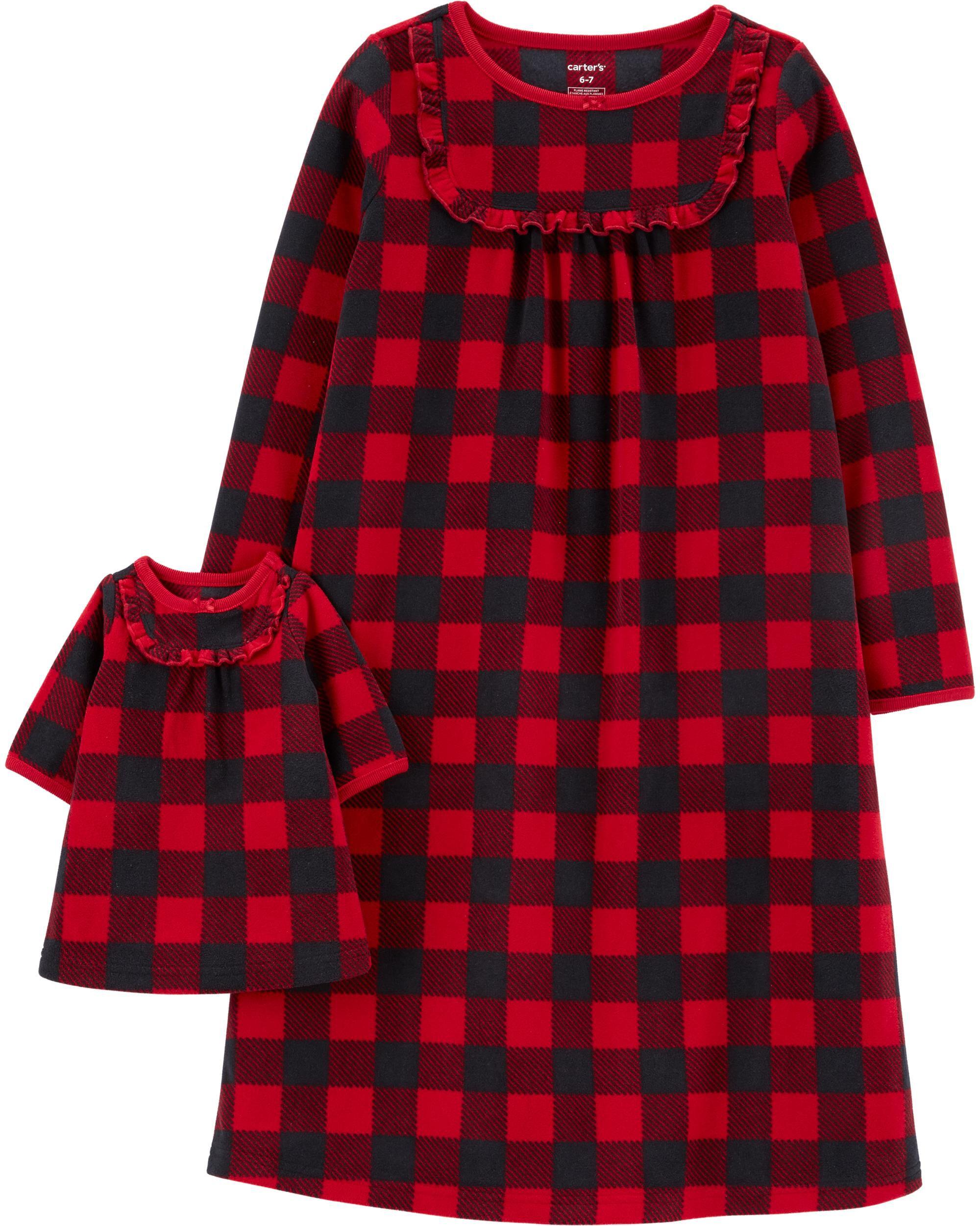 Buffalo Check Matching Nightgown & Doll Nightgown Set
