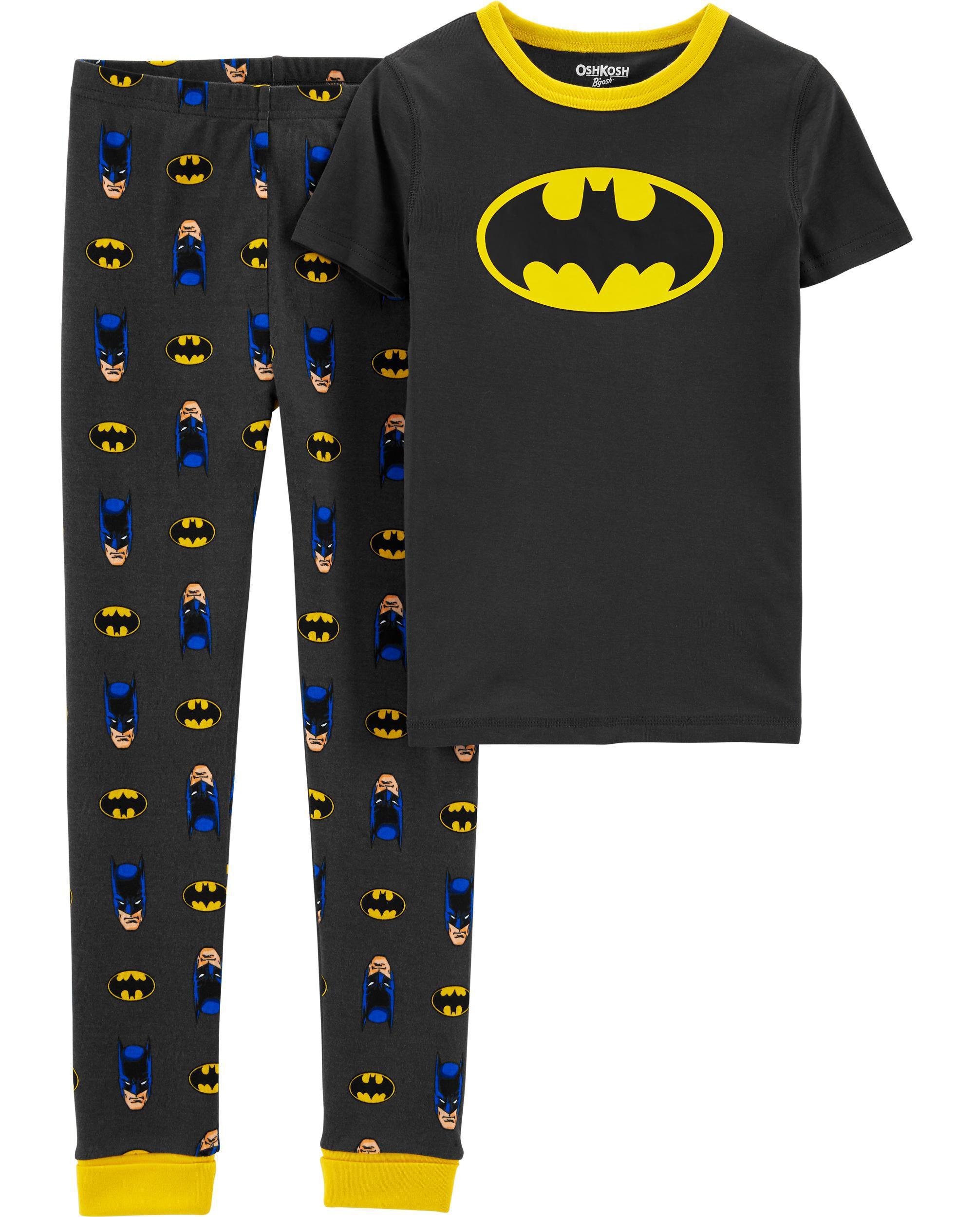 Batman Infant and Toddler Boys Gray Snug Fit Cotton Pajamas Superhero PJ Set
