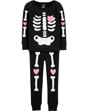 2-Piece Glow Halloween Skeleton 100...