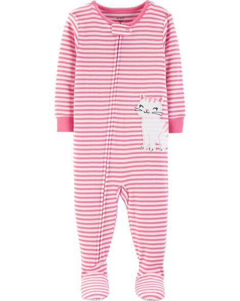 1-Piece Cat Snug Fit Cotton PJs