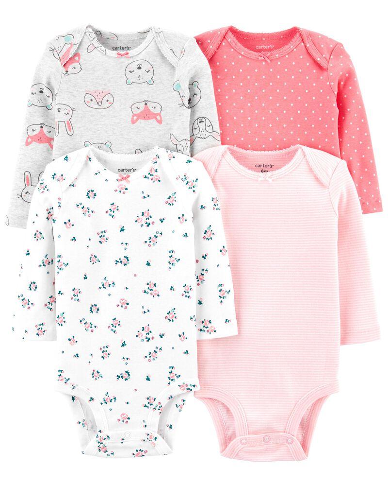 Carter's Girls Size 3 Months Long Sleeve Bodysuits  Bundle of 4 Pastel Colors