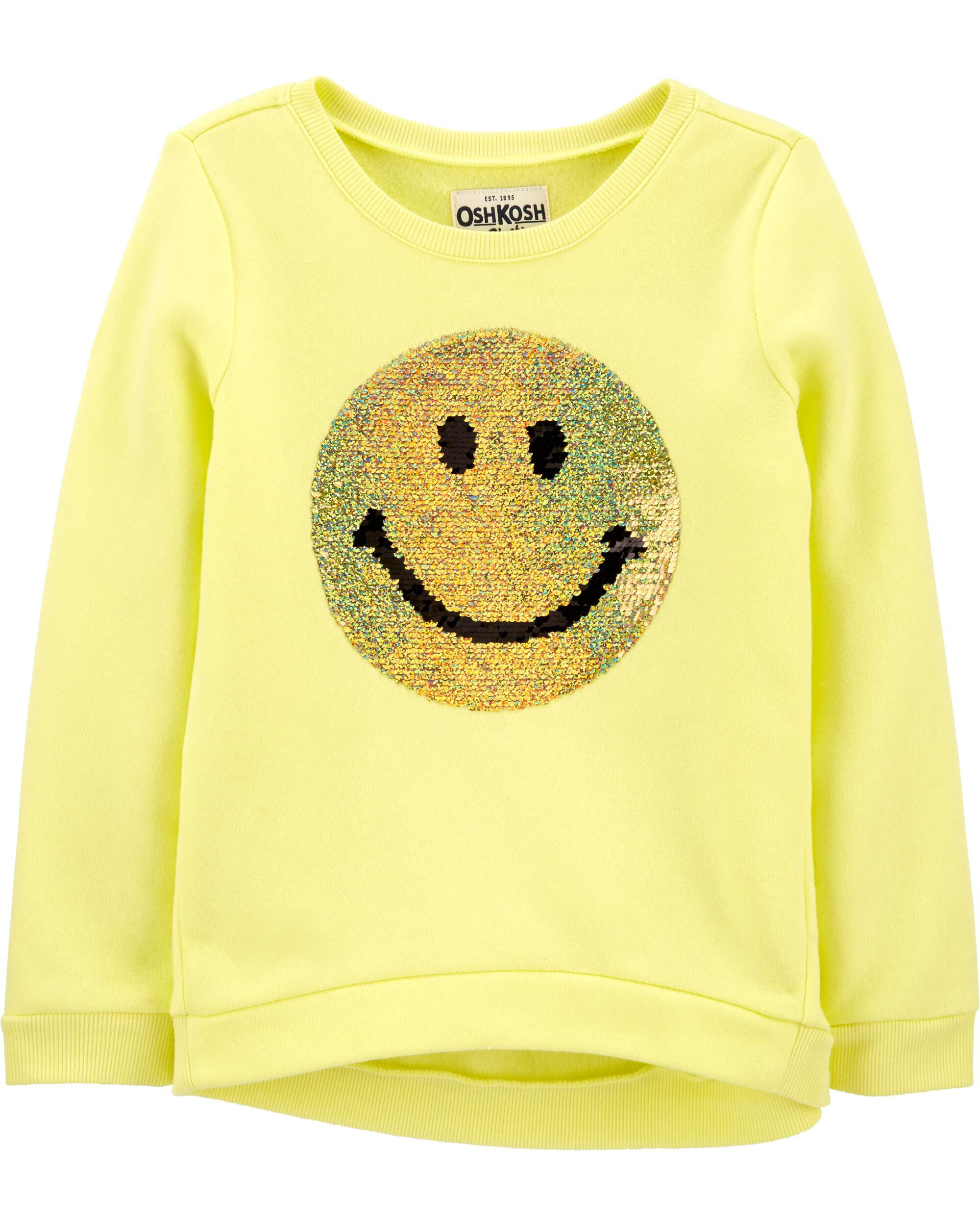 *CLEARANCE* Smiley Face Flip Sequin Pullover
