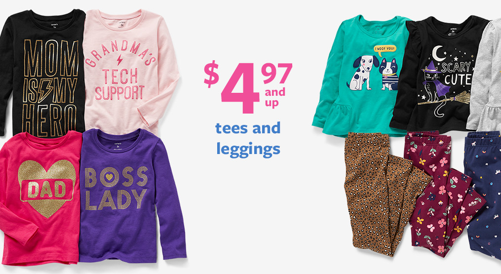 $4.97 and up tees and leggings