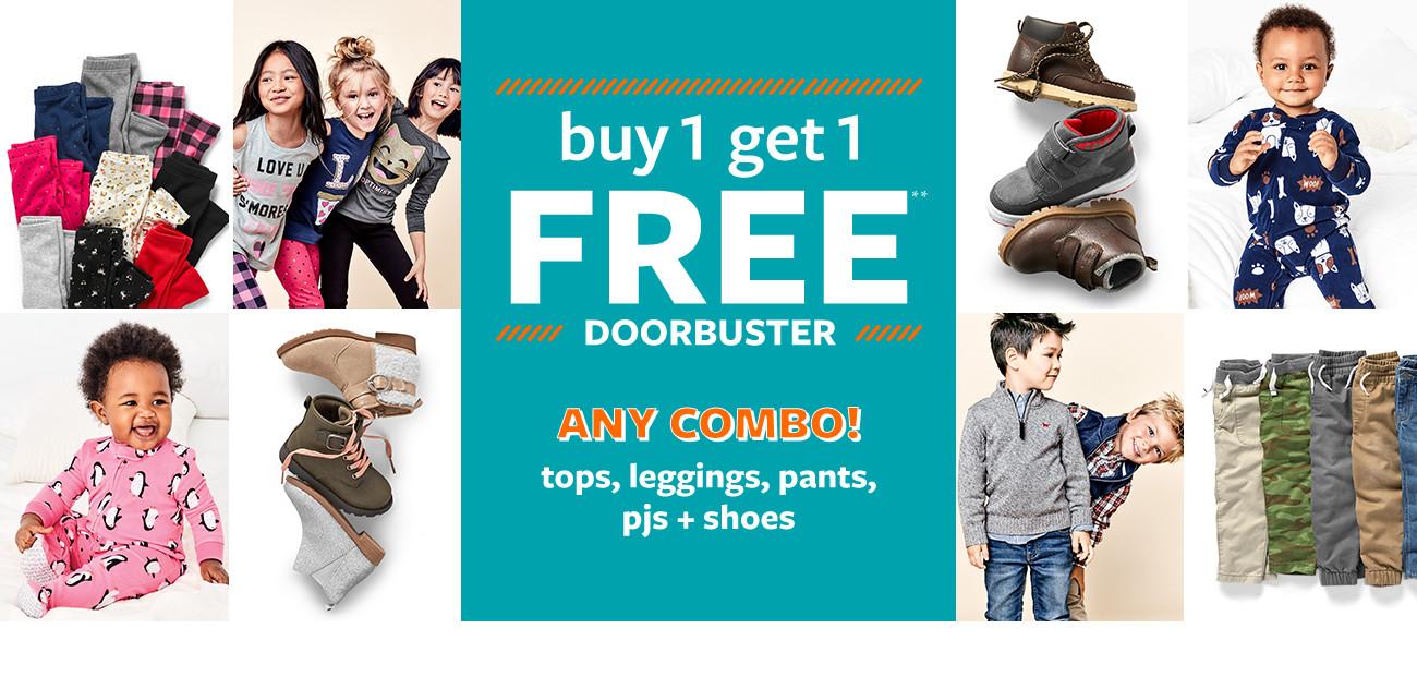buy 1 get 1 free doorbuster | any combo! tops, leggings, pants, pjs + shoes