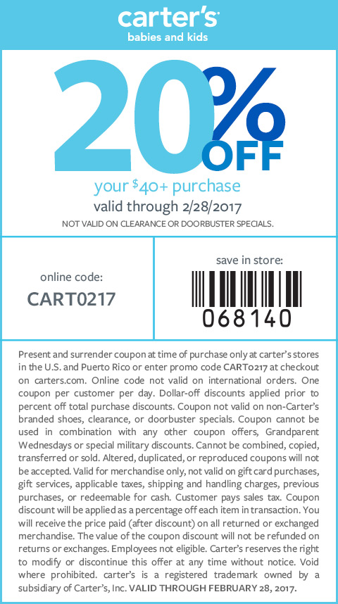 70% Off coupon and 55 more money-saving offers for Carter's! Save more at every store with Coupon Sherpa!