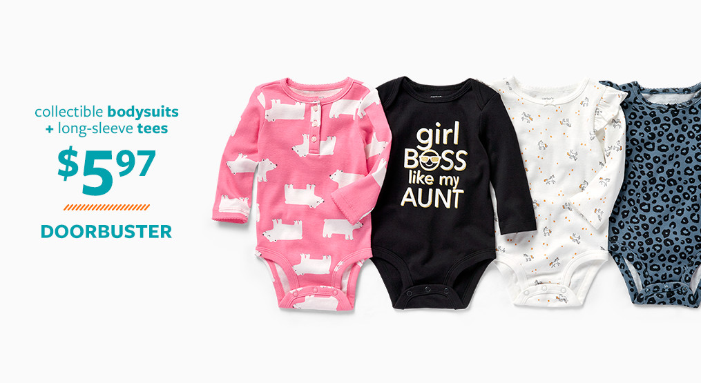 collectible bodysuits + long sleeve tees $5.97 doorbusters