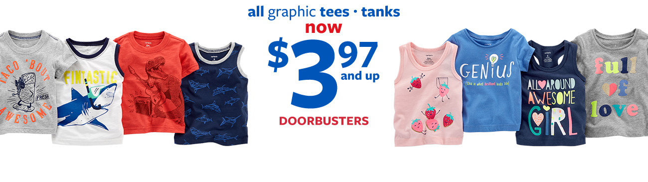all graphic tees | tanks | now $3.97 and up doorbusters