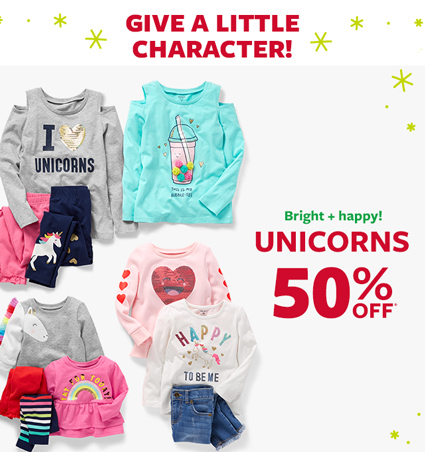 give a little character! bright happy unicorns 50% off msrp