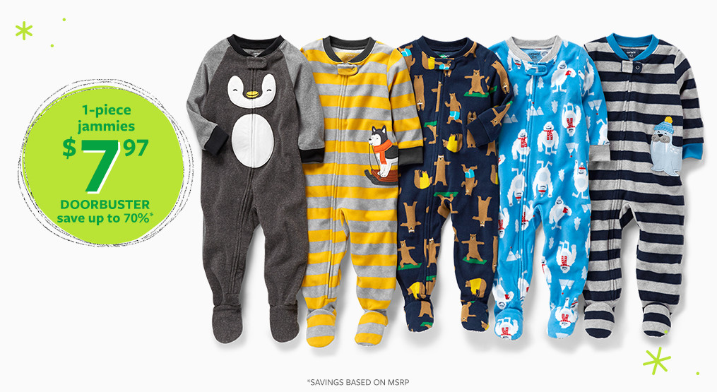 1-piece jammies $7.97 doorbuster