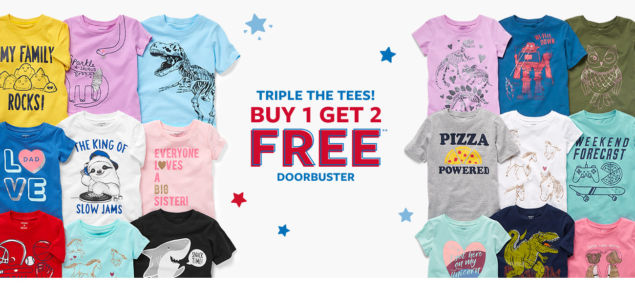 triple the tees! buy 1 get 2 free doorbuster