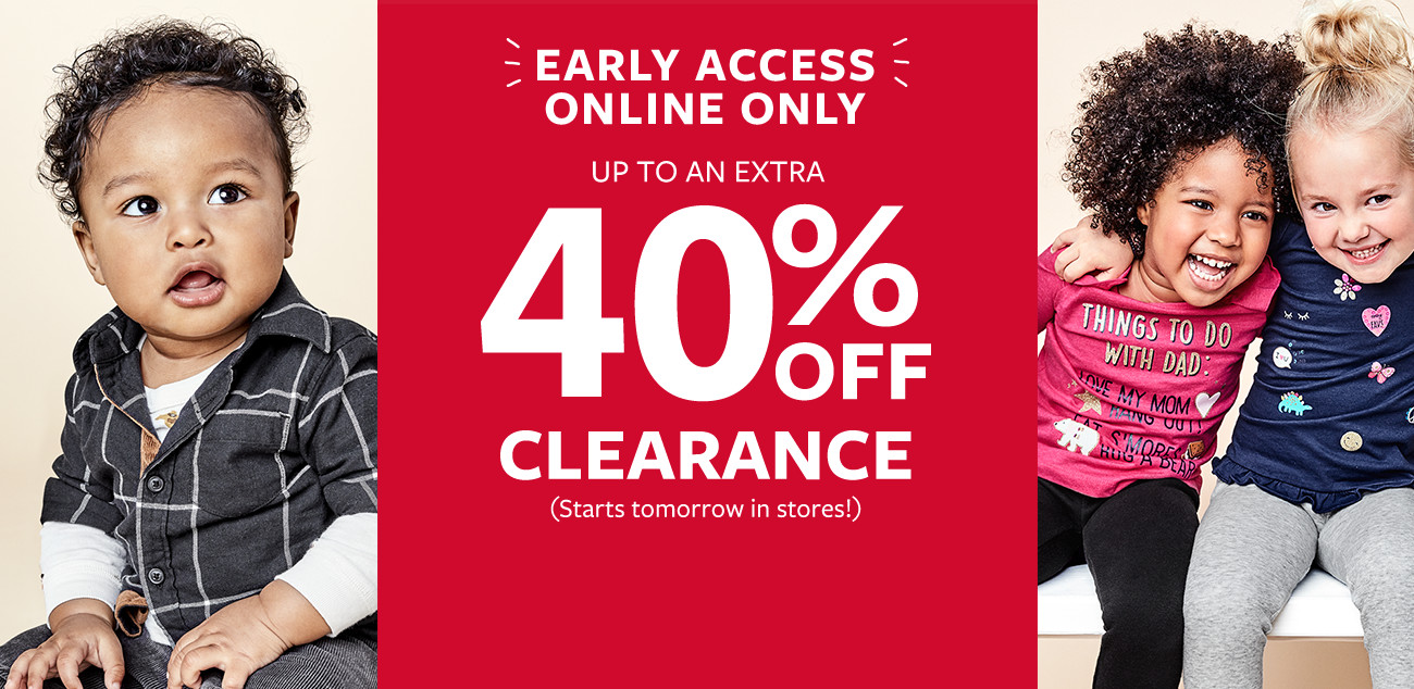 early access online only | up to an extra 40% off clearance - starts tomorrow in stores