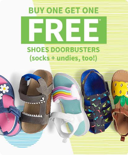 BUY ONE GET ONE FREE* SHOES DOORBUSTERS (socks + undies, too!)