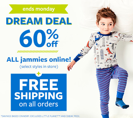 ends monday | dream deal 60% off msrp all jammies online + free shipping on all orders