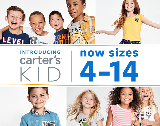 introducing carter's kid | now sizes 4-14 | We're bringing a modern and playful look to sizes 4-14. 700 new styles arriving all season long just for KID! Unique graphics, active, layering, mix + match and more!