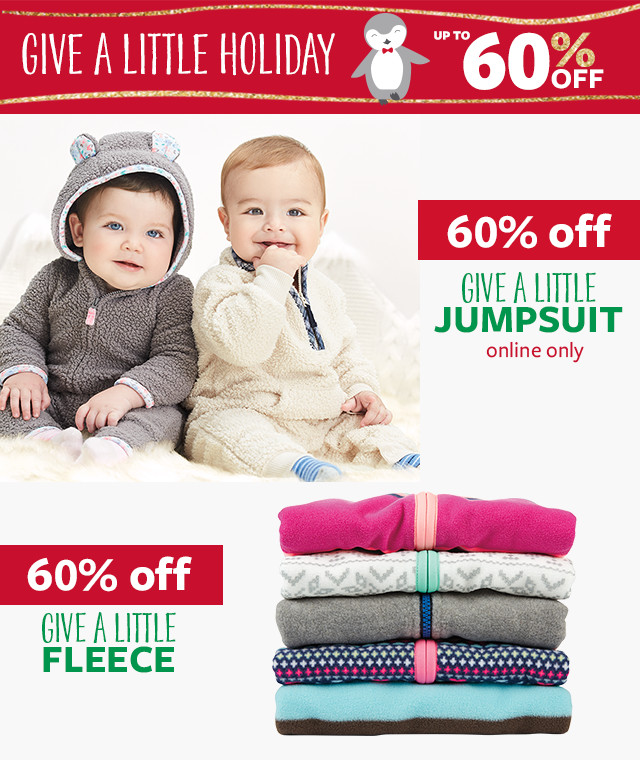 Give a little holiday - Up to 60% off - 60% off Give a little jumpsuit, online only - 60% off Give a little fleece