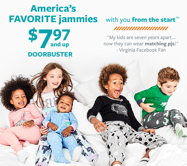 america's favorite jammies $7.97 and up doorbuster