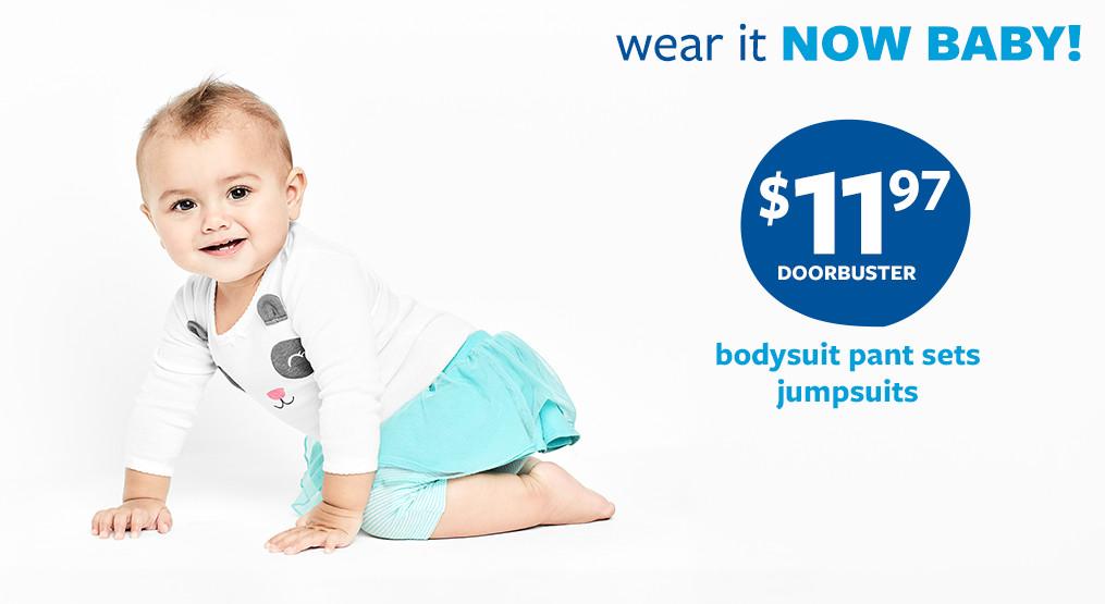 wear it now baby! $11.97 doorbuster bodysuit pant sets jumpsuits