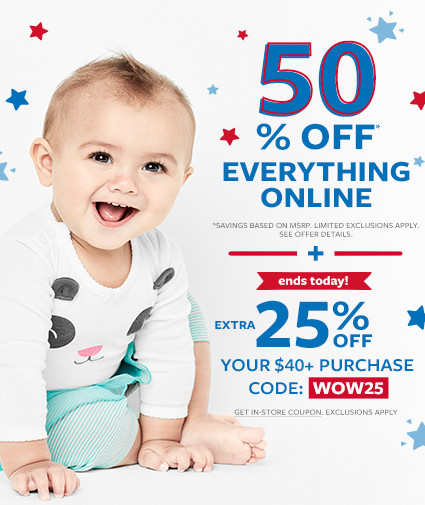 50% off msrp everything online + extra 25% off your $40+ purchase code: WOW25