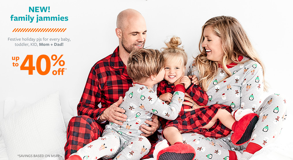 new! family jammies up to 40% off msrp