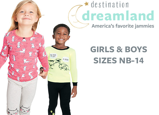 Destination Dreamland - America's Favorite Jammies| Girls and Boys Sizes NB - 14 | Sizes 10-12 Available Online Only