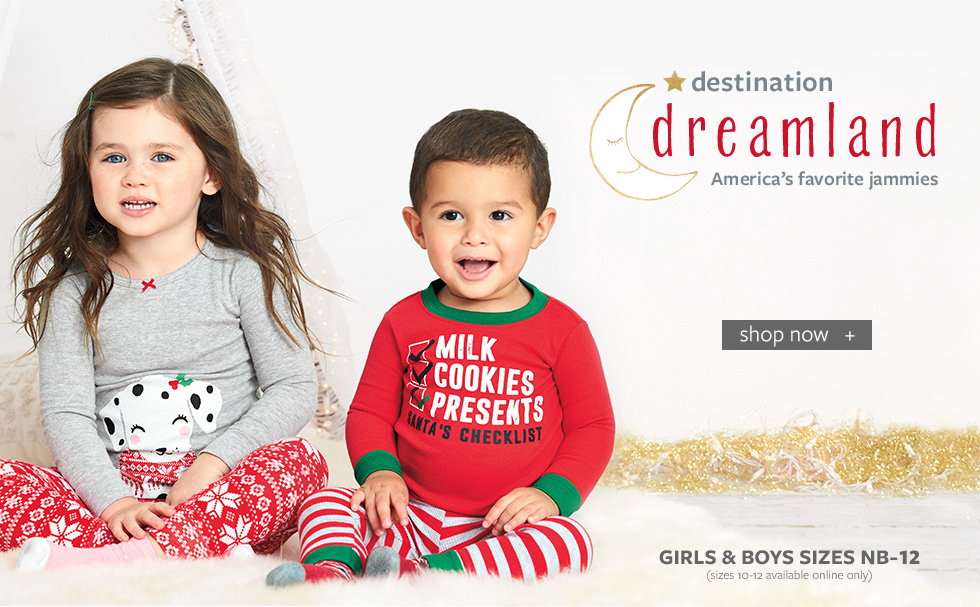 Destination Dreamland - America's Favorite Jammies| Girls and Boys Sizes NB - 12 | Sizes 10-12 Available Online Only