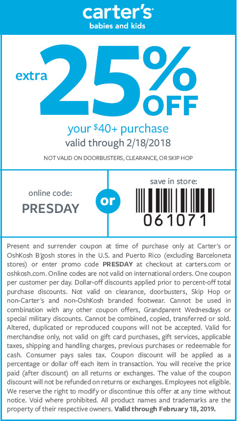 extra 25% off $40+ | code: PRESDAY | get in store coupon | exclusions apply valid through 02/18/19