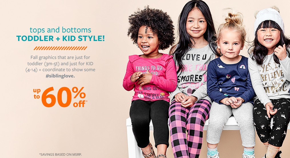 tops and bottoms toddler + kid style! up to 60% off msrp