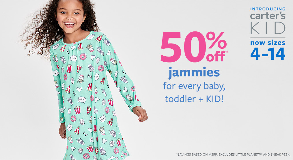50% off msrp jammies for baby, toddler + KID!