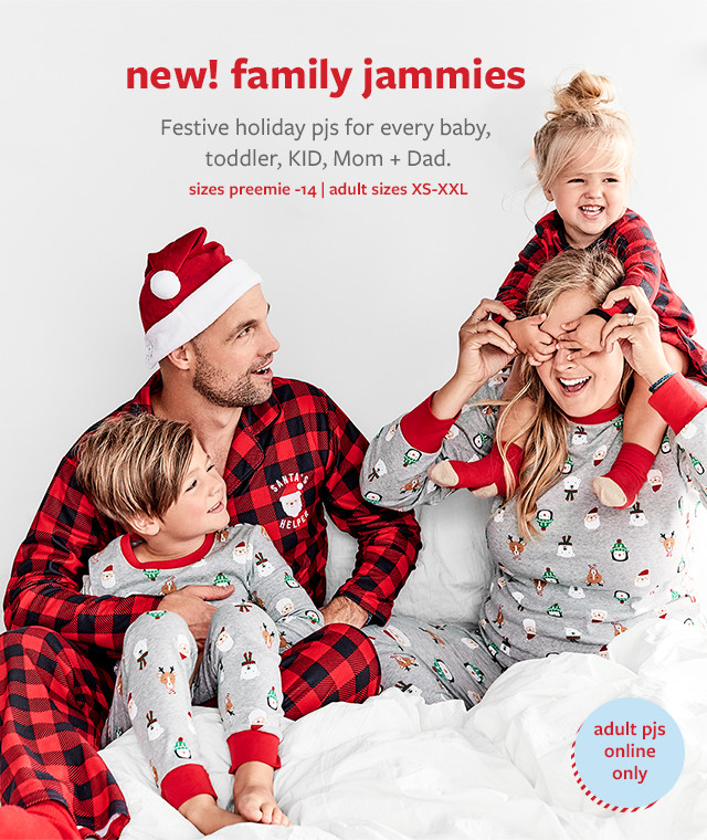 new! family jammies | Festive holiday pjs for every baby, toddler, KID, Mom + Dad | sizes preemie-14 | adult sizes XS-XXL | adult pjs online only