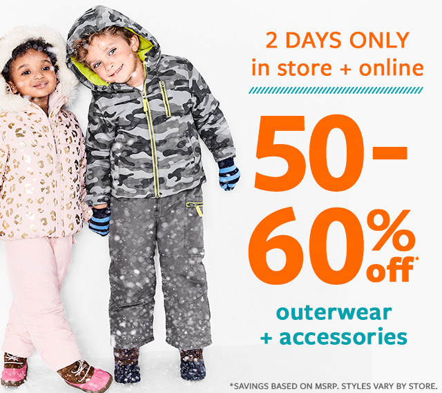 2 days only | in store + online | 50-60% off msrp outerwear and accessories