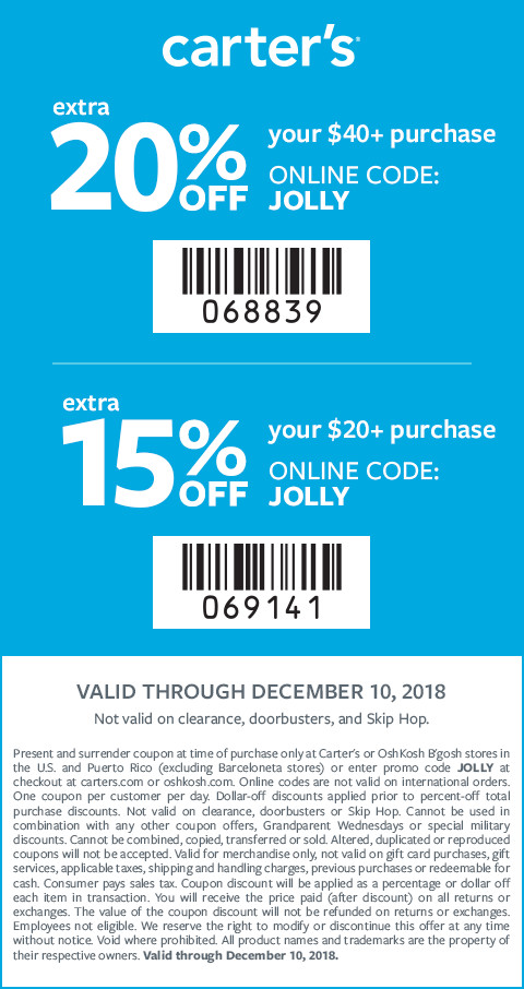 extra 20% off $40+ purchase | code: JOLLY | exclusions apply valid through 12/10/18