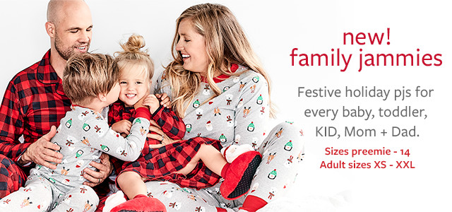 new! family jammies | festive holiday pjs for every baby toddler kid mom + dad | sizes preemie-14 adult sizes xs-xxl