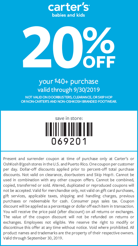 photo relating to Oshkosh Printable Coupon titled carters-instore-coupon