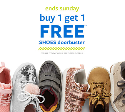 ends sunday | buy 1 get 1 free shoes doorbuster