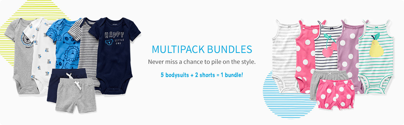 MULTIPACK BUNDLES | Never miss a chance to pile on the style. 5 bodysuits + 2 shorts = 1 bundle!