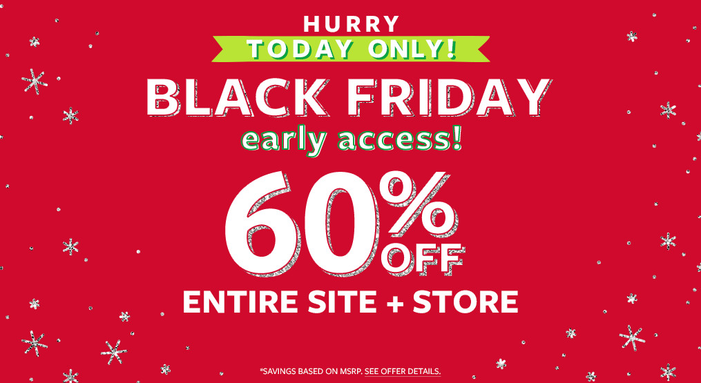 hurry, today only! black friday early access! 60% off msr entire site + store