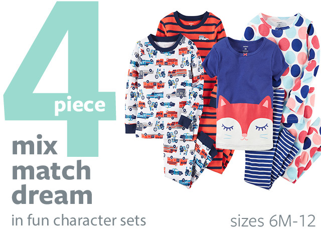 PJ Shop - 4 Piece Mix Match Dream in fun characters sets | sizes 6M-12