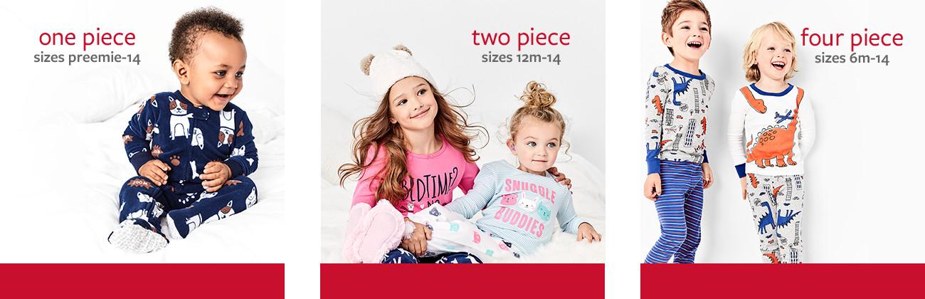 one piece sizes preemie - 14 | two piece sizes 12m-14 | four piece sizes 6m-14