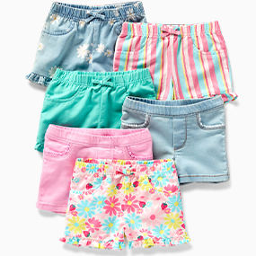 Carters Toddler Girls Floral Jersey Shorts 2T Blue//white