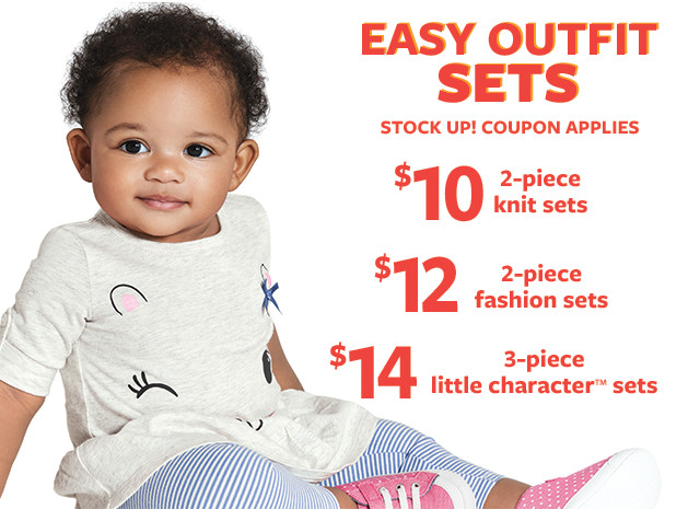 $10 2-piece knit sets | $12 2-piece fashion sets | $14 3-piece little character sets