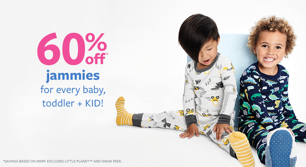 60% off msrp jammies for baby, toddler + KID!