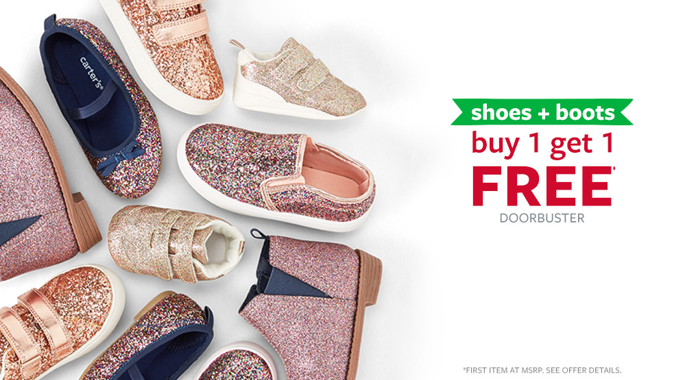 shoes + boots buy 1 get 1 free doorbuster | first item at msrp