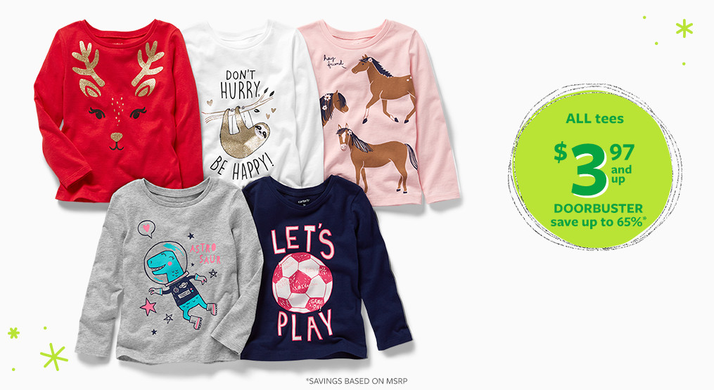 all tees $3.97 doorbuster save up to 65% off msrp
